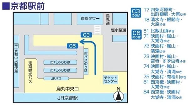 京都巴士候車位置一覽。 摘自 http://www.kyotobus.jp/route/timetable/kana07/kyotoekimae.html